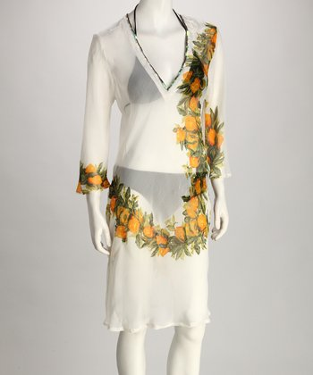 Yuka Beach White & Yellow Flower Cover-Up