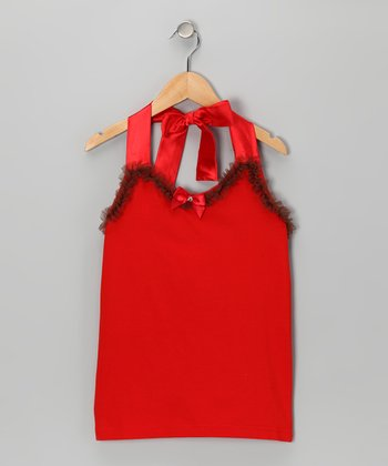 Red Ribbon Halter Top - Toddler & Girls