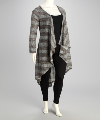 Gray & Brown Stripe Cardigan - Plus