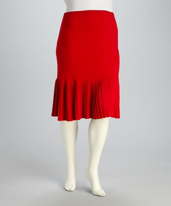 Red Accordion Pleated Skirt - Plus