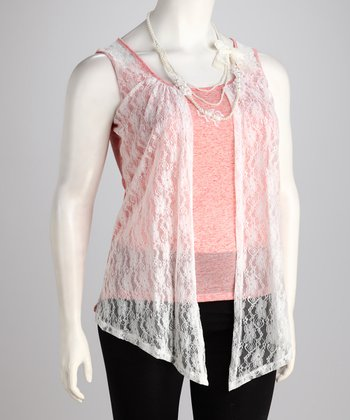 Coral Lace Layered Tank - Plus