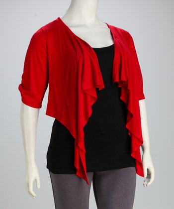 Yummy Red Ruffle Shrug - Plus