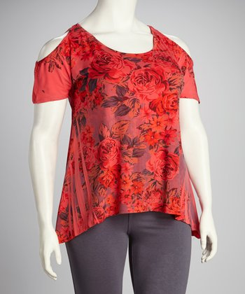 Yummy Coral Rose Plus-Size Cutout Sidetail Top