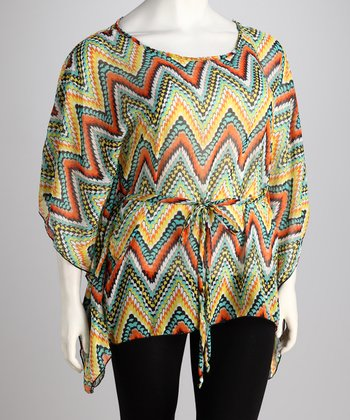 Green & Yellow Zigzag Tie-Waist Top - Plus