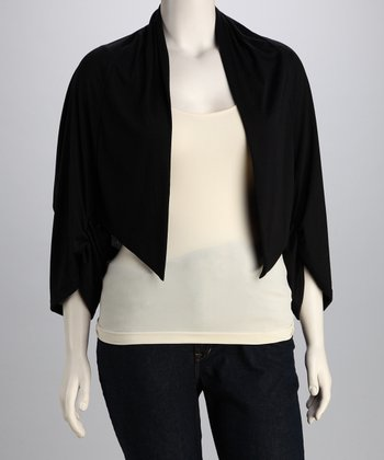 Black Gathered Open Cardigan - Plus