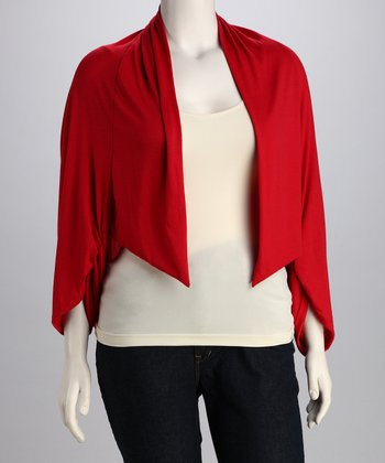Red Gathered Open Cardigan - Plus