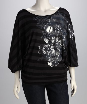 Black & Charcoal Stripe Floral Top - Plus