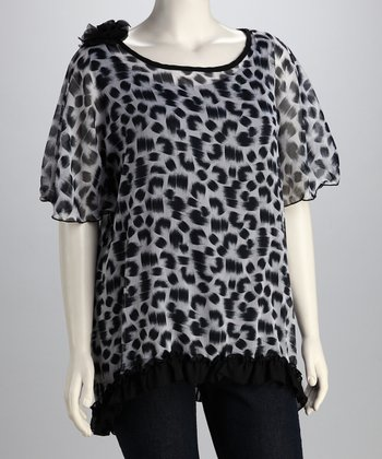 Black & White Leopard Ruffle Top - Plus