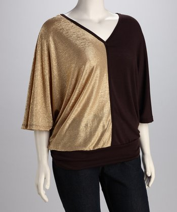 Brown & Gold Color Block Plus-Size Dolman Top