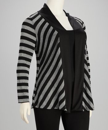 Black & Silver Sparkle Open Cardigan - Plus