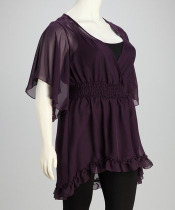 Eggplant Angel Sleeve Tunic - Plus