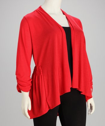 Red Gathered Plus-Size Open Cardigan - Plus