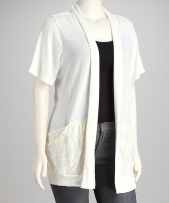 Ivory Pocket Open Cardigan - Plus