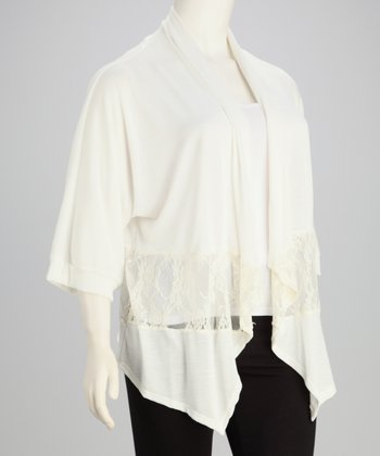 Ivory Lace Cascading Open Cardigan - Plus