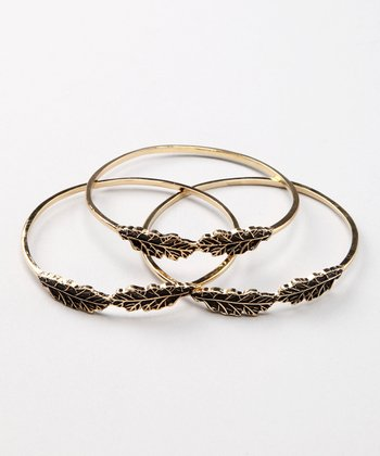 Gold Leaf Bangle Set