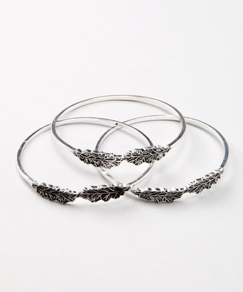 Silver Leaf Bangle Set