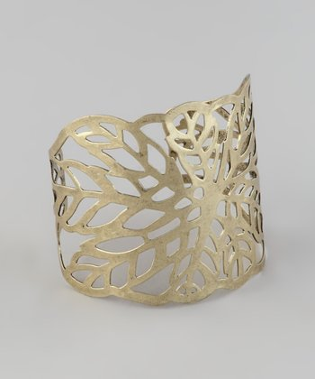 Gold Cutout Leaf Cuff