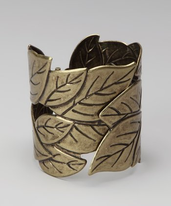 Antique Gold Leaves Hinged Bracelet