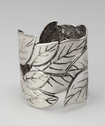 Antique Silver Leaves Hinged Bracelet