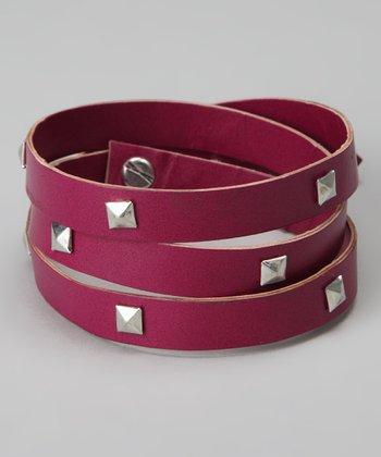 Pink & Silver Studded Leather Wrap Bracelet