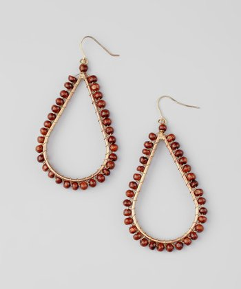 Brown Wood Bead Teardrop Earrings