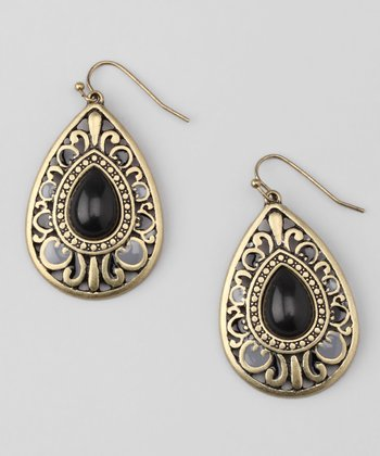 Black Stone Teardrop Earrings