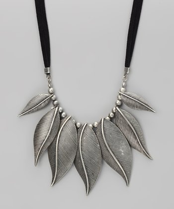 Silver Antique Leaves Bib Necklace