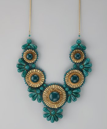 Green & Gold Medallion Bib Necklace