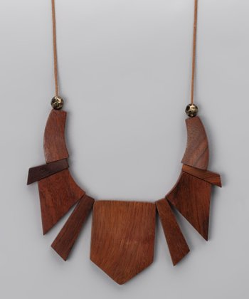 Wood Geometric Segment Necklace