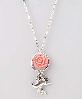 Silver Bird & Flower Necklace
