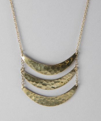 Gold Hammered Crescent Necklace