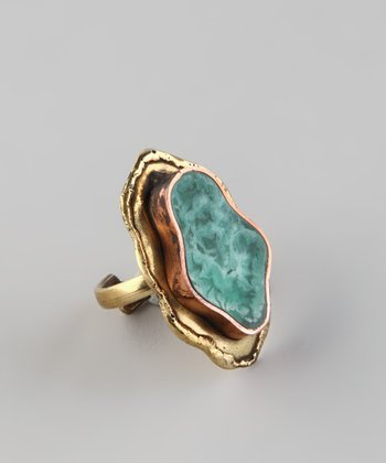Gold & Blue Faux Agate Ring