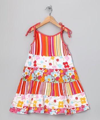 Orange Daisy Tie-Sleeve Dress - Infant, Toddler & Girls