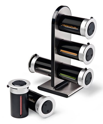 Black Magnetic Spice Canister Set