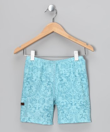 Aqua Bandana Shorts - Infant, Toddler & Girls
