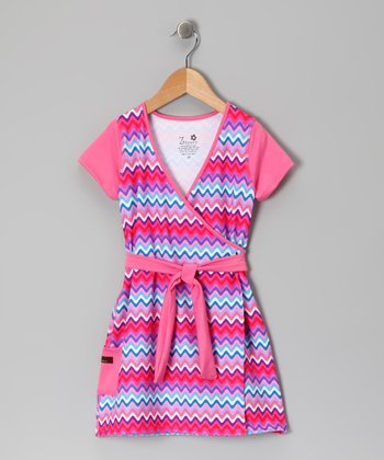 Bubblegum Rickrack Faux Wrap Dress - Infant, Toddler & Girls