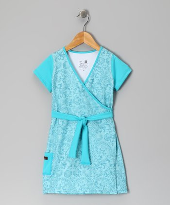 Blue Bandana Faux Wrap Dress - Infant, Toddler & Girls