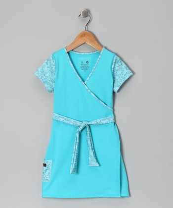 Turquoise Faux Wrap Dress - Infant, Toddler & Girls