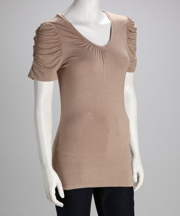 Khaki Ruched V-Neck Top