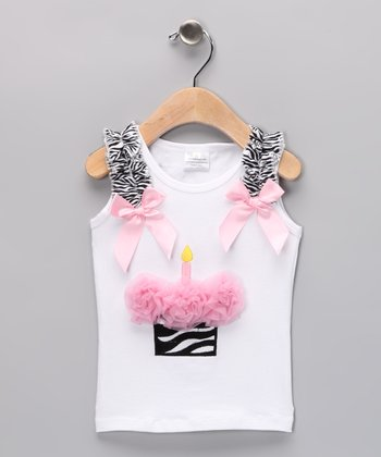 Light Pink Birthday Cupcake Tank - Infant, Toddler & Girls