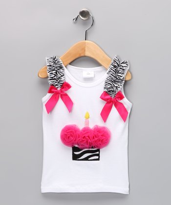 Hot Pink Birthday Cupcake Tank - Infant, Toddler & Girls