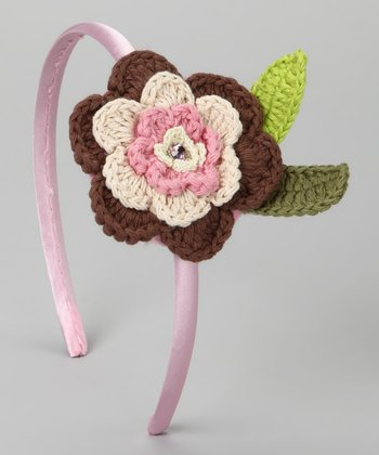 Brown & Pink Crocheted Flower Headband