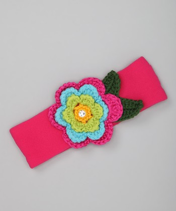 Hot Pink & Turquoise Flower Wide Headband