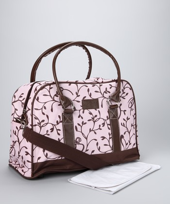 Pink Elegant Leaf Diaper Bag & Changing Mat