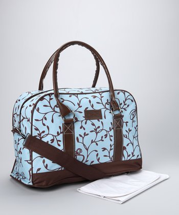 Blue Elegant Leaf Diaper Bag & Changing Mat