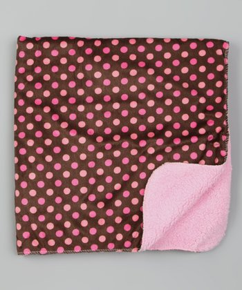 Brown & Pink Polka Dot Stroller Blanket