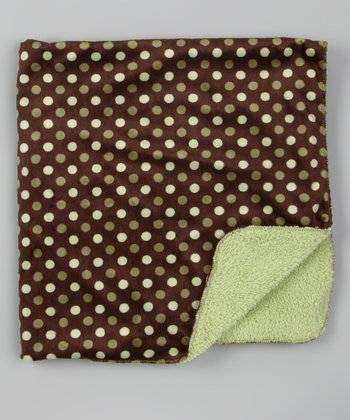 Brown & Green Polka Dot Stroller Blanket