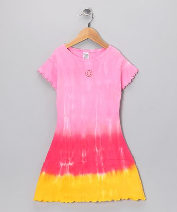 Pink & Orange Tie-Dye Dress - Girls