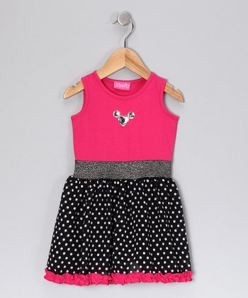 Hot Pink & Black Polka Dot Dress - Toddler & Girls
