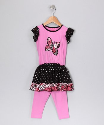 Pink Butterfly Tunic & Leggings - Toddler & Girls